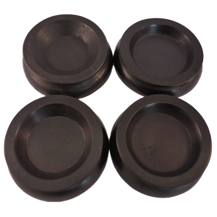 Castor Cups Black wood Small - set of 4